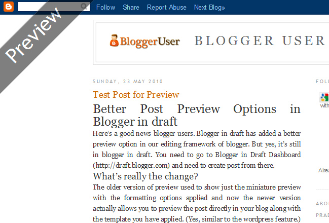 Better Preview for Blogger Blogs