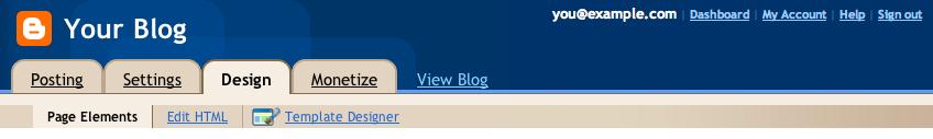 Blogger Design Page Elements