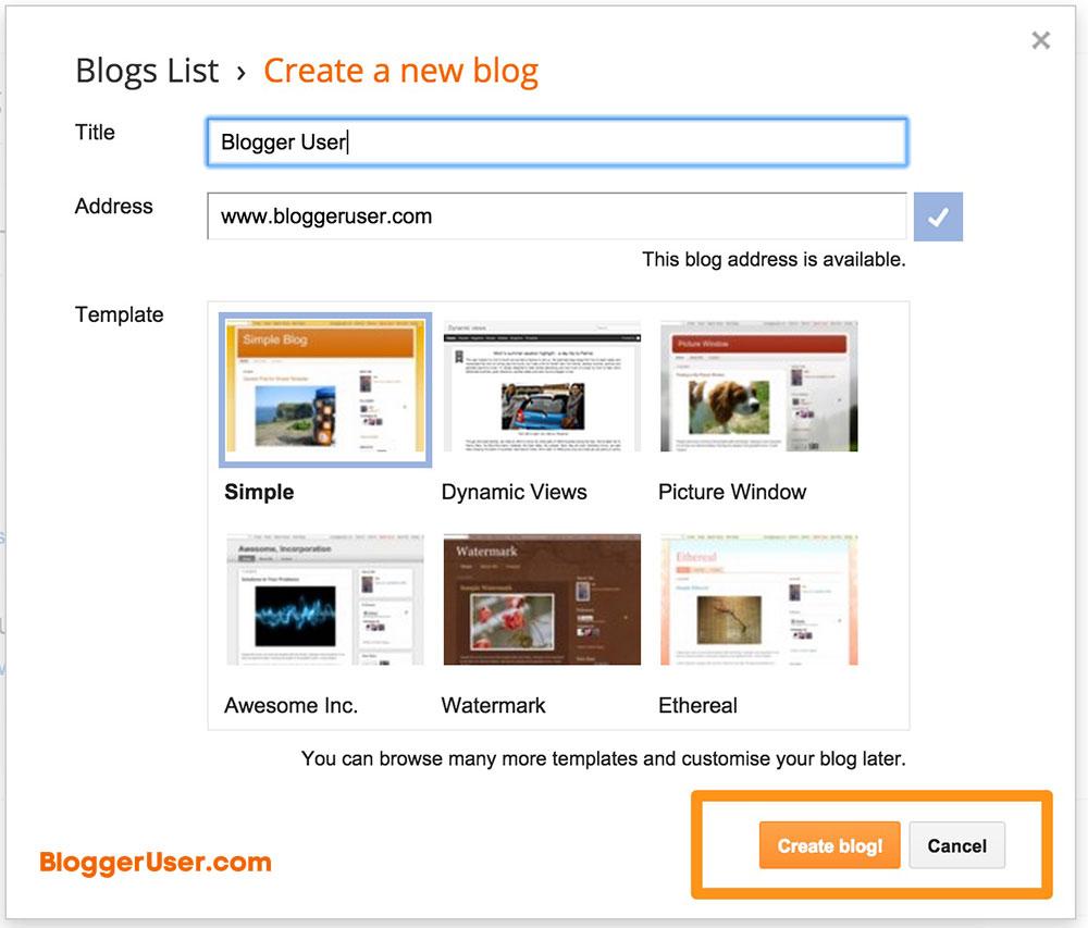 Create New Blog Custom-Domain Blogger