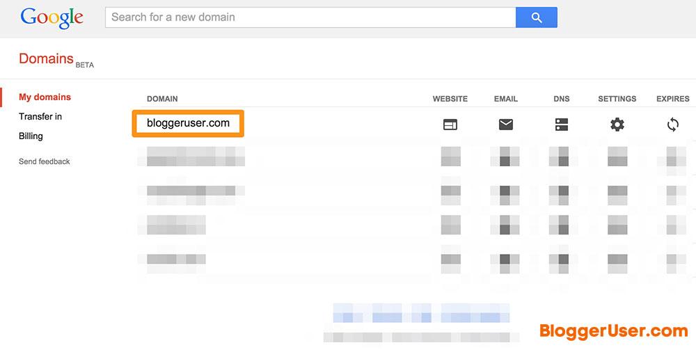 Select Domain Custom-Domain Blogger