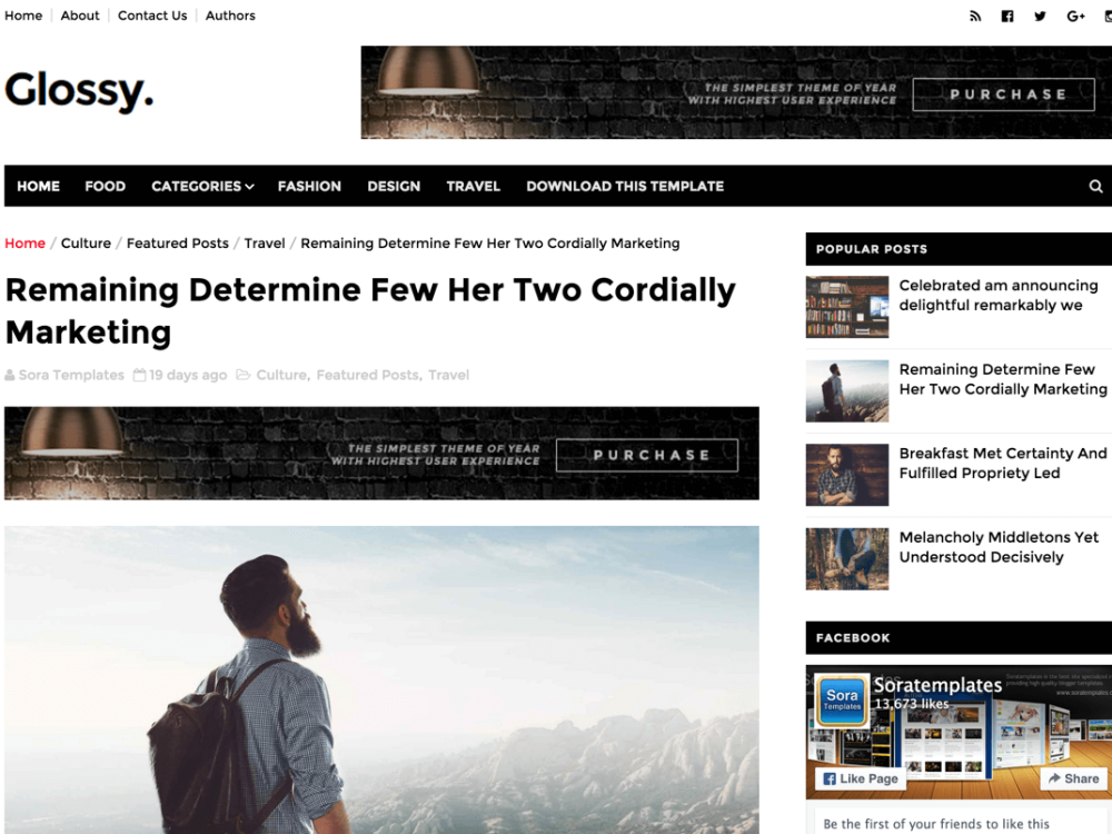 Glossy Blogger Template Single Post